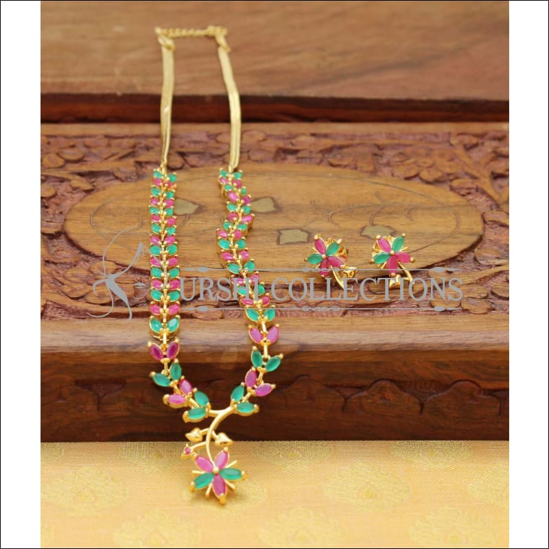 DESIGNER CZ NECKLACE SET UC-NEW2939 - GREEN AND RED - Necklace Set