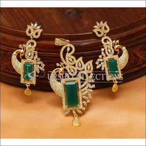 Designer CZ Peacock Pendant Set UC-NEW1835 - Green - Pendant Set