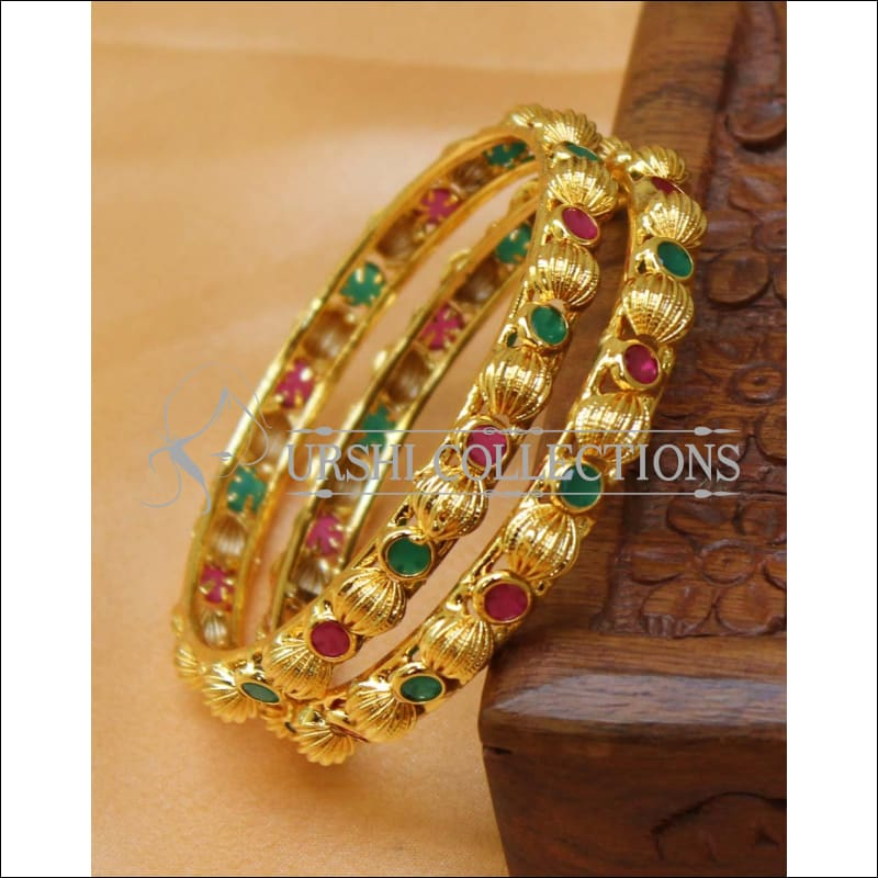 Designer Gold Plated Bangle Set UC-NEW2406 - 2.4 - Bangles
