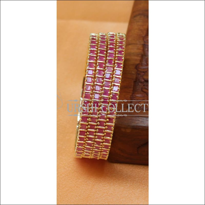 Designer Gold Plated CZ Bangle Set UC-NEW2358 - 2.4 / Red - Bangles