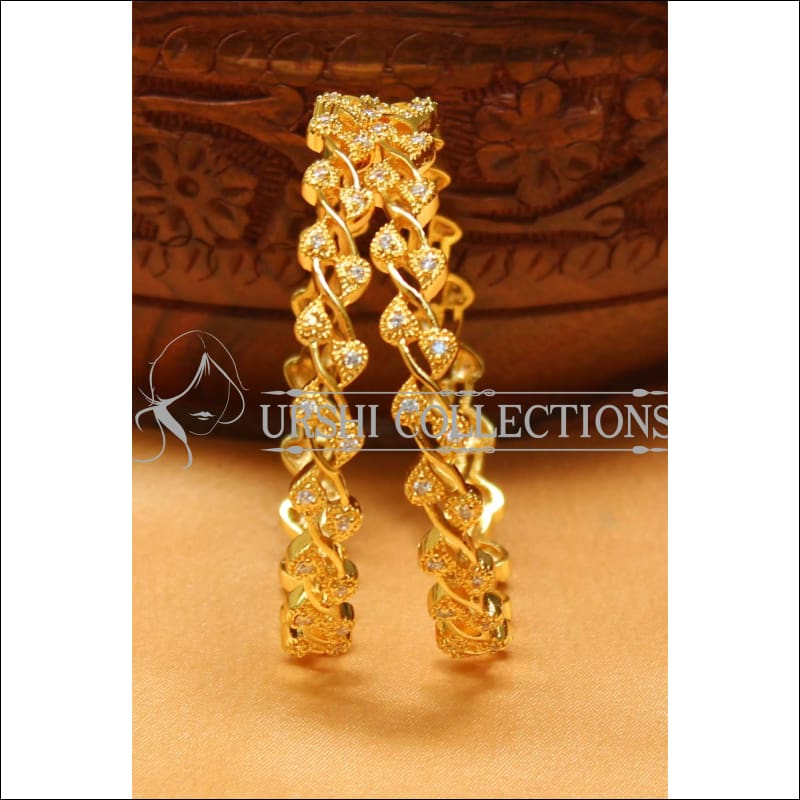 Designer Gold Plated CZ Bangle Set UC-NEW2412 - 2.4 - Bangles