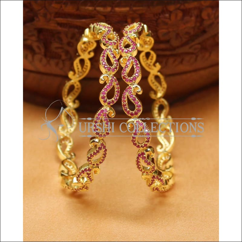 Designer Gold Plated CZ Bangle Set UC-NEW2417 - 2.4 / Ruby - Bangles