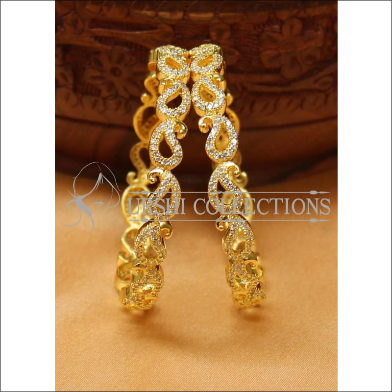 Designer Gold Plated CZ Bangle Set UC-NEW2417 - 2.4 / White - Bangles