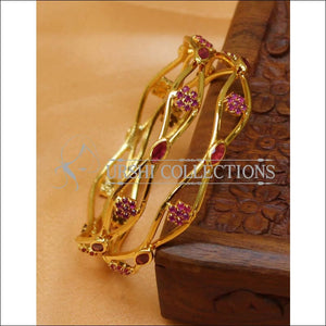 Designer Gold Plated CZ Bangle Set UC-NEW2433 - 2.4 / Ruby - Bangles