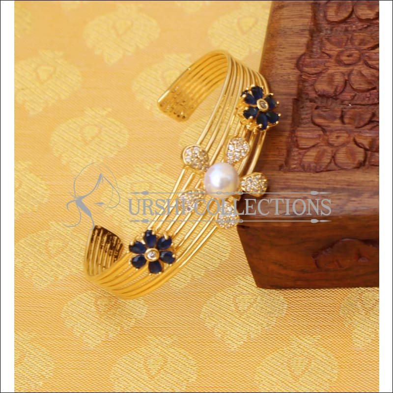 Designer Gold Plated CZ Kada UC-NEW1575 - Blue - Bracelets