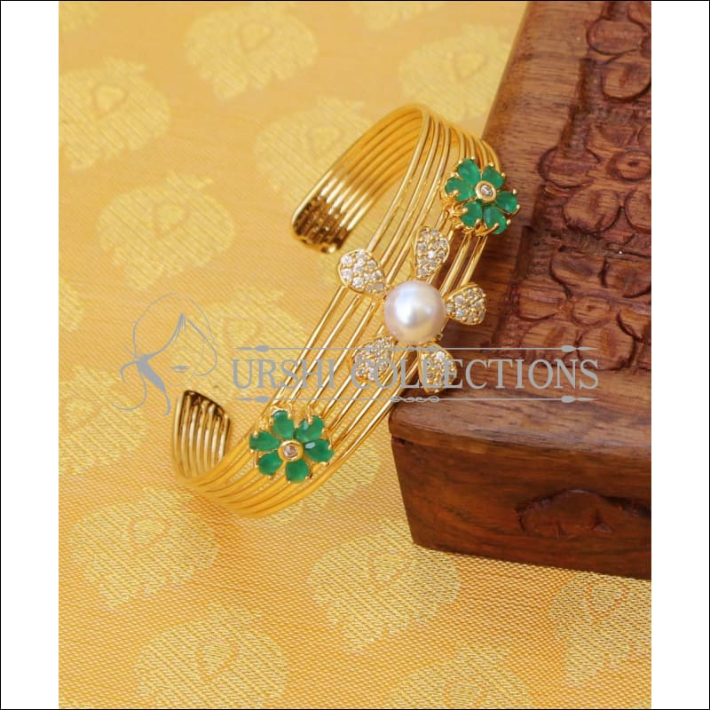 Designer Gold Plated CZ Kada UC-NEW1575 - Green - Bracelets