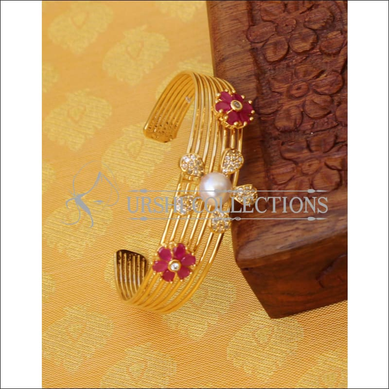 Designer Gold Plated CZ Kada UC-NEW1575 - Red - Bracelets