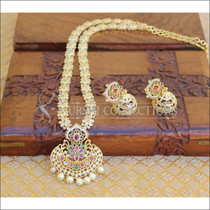 DESIGNER GOLD PLATED CZ LONG NECKLACE SET UTV199 - Necklace Set