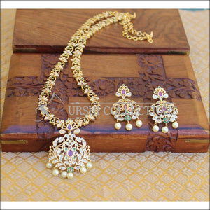 DESIGNER GOLD PLATED CZ LONG NECKLACE SET UTV201 - Necklace Set