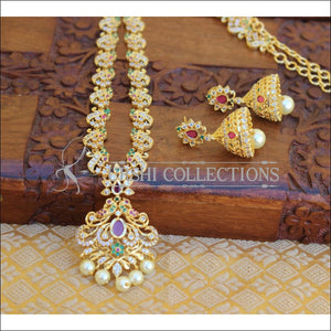 DESIGNER GOLD PLATED CZ LONG NECKLACE SET UTV202 - Necklace Set