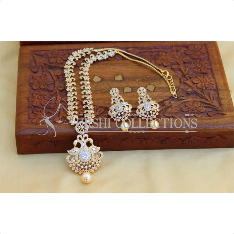 Designer Gold Plated CZ Necklace Set UC-NEW1504 - White - Necklace Set