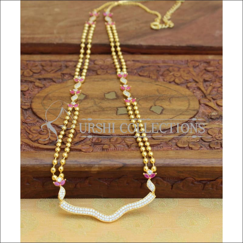 Designer Gold Plated CZ Necklace Set UC-NEW2005 - Red & White - Necklace Set