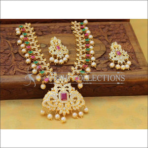 Designer Gold Plated CZ Necklace Set UC-NEW2542 - Multy&Red - Necklace Set