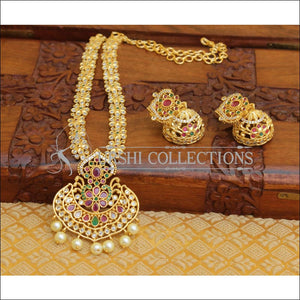 DESIGNER GOLD PLATED CZ NECKLACE SET UTV198 - Necklace Set