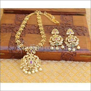 DESIGNER GOLD PLATED CZ NECKLACE SET UTV200 - Necklace Set