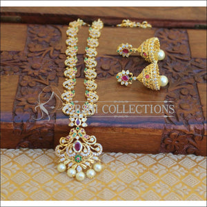 DESIGNER GOLD PLATED CZ NECKLACE SET UTV203 - Necklace Set