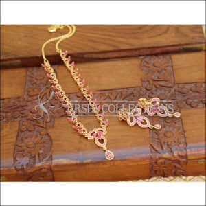 DESIGNER GOLD PLATED CZ NECKLACE SET UTV599 - Necklace Set
