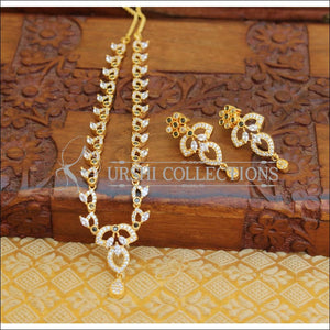 DESIGNER GOLD PLATED CZ NECKLACE SET UTV600 - Necklace Set