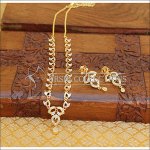 DESIGNER GOLD PLATED CZ NECKLACE SET UTV601 - Necklace Set