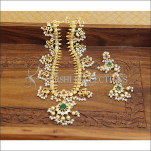 DESIGNER GOLD PLATED CZ NECKLACE SET UTV656 - Necklace Set