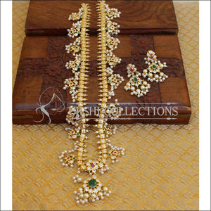 DESIGNER GOLD PLATED CZ NECKLACE SET UTV657 - Necklace Set