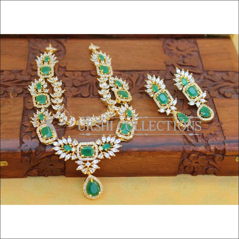 Designer Gold Plated CZ Necklace UC-NEW1385 - Green - Necklace Set
