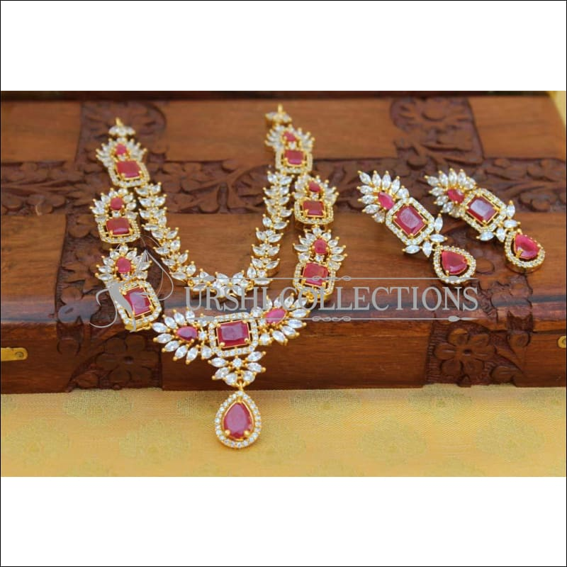 Designer Gold Plated CZ Necklace UC-NEW1385 - Red - Necklace Set