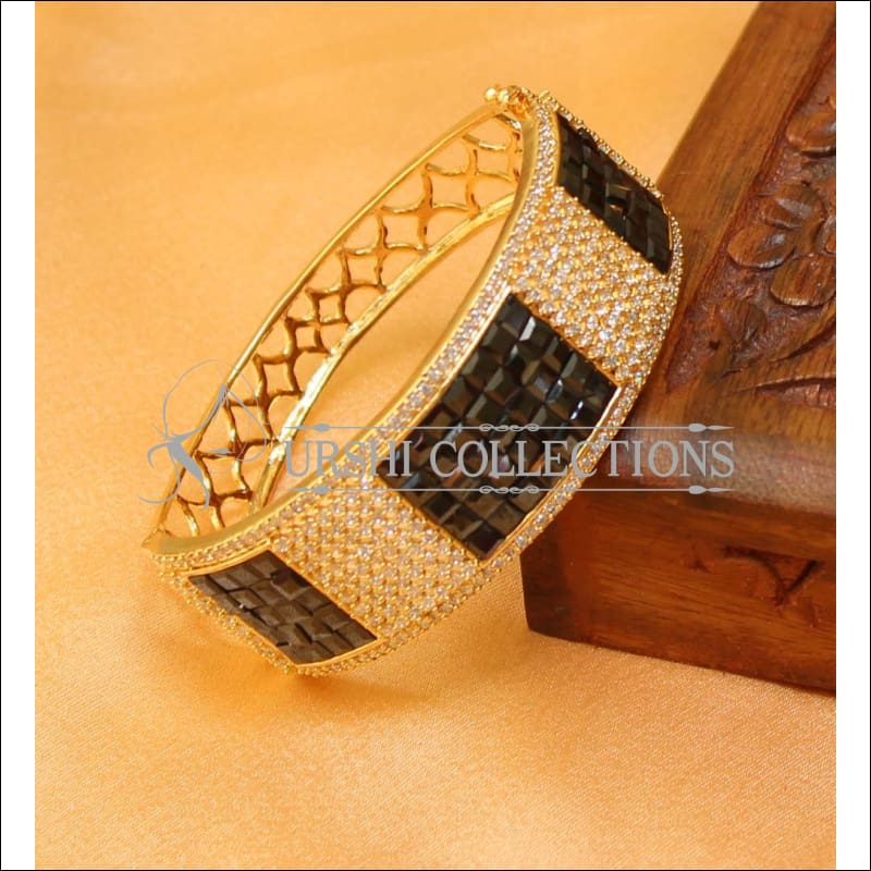 Designer Gold Plated CZ Openable Kada UC-NEW1586 - Black - Bracelets