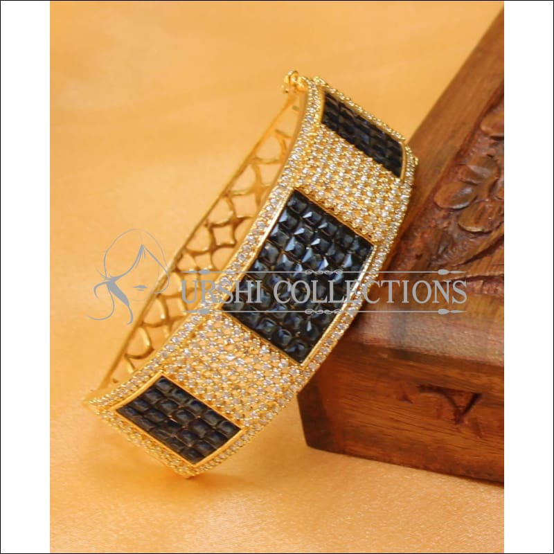Designer Gold Plated CZ Openable Kada UC-NEW1586 - Blue - Bracelets