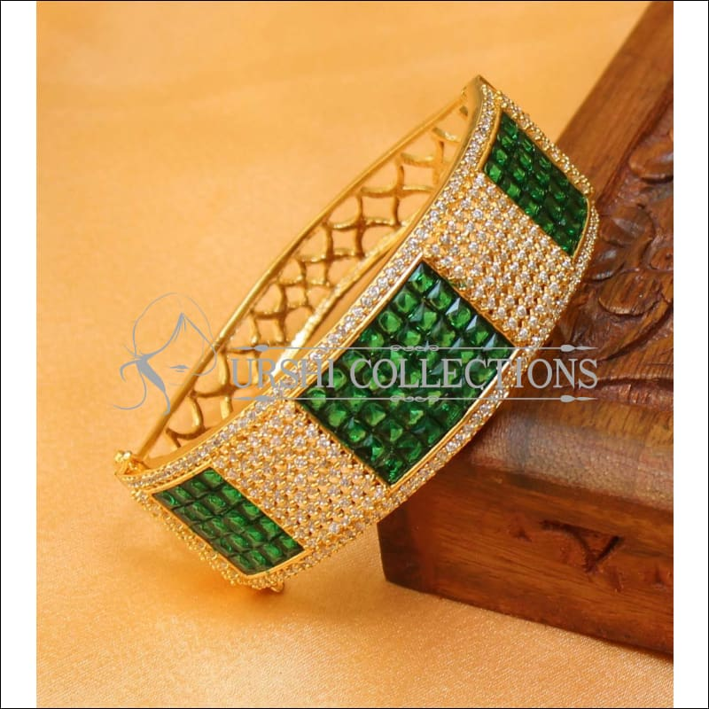 Designer Gold Plated CZ Openable Kada UC-NEW1586 - Green - Bracelets