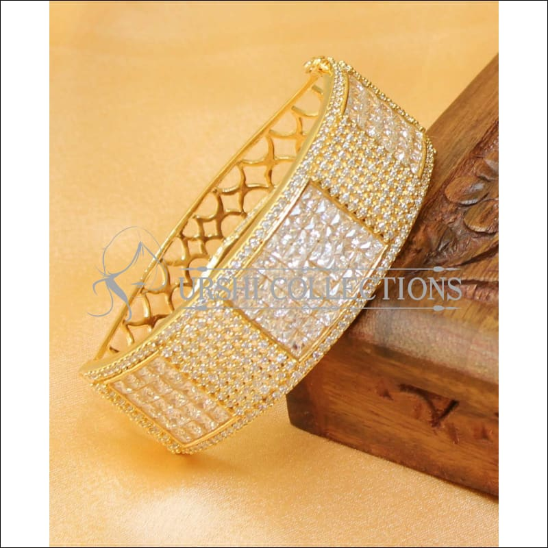 Designer Gold Plated CZ Openable Kada UC-NEW1586 - White - Bracelets