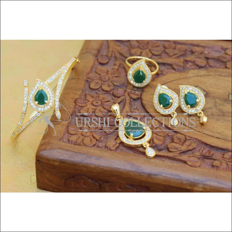 Designer Gold Plated CZ Openable Kada UC-NEW1742 - Green - Bracelets