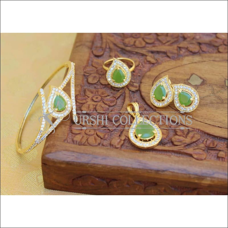 Designer Gold Plated CZ Openable Kada UC-NEW1742 - Light Green - Bracelets