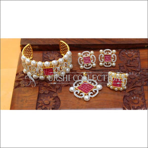 Designer Gold Plated CZ Openable Kada UC-NEW2590 - Red - Bracelets