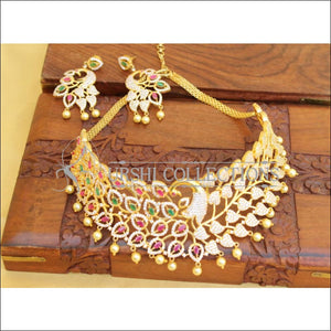Designer Gold Plated CZ Peacock Choker Set UC-NEW2762 - Necklace Set