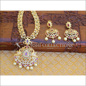 DESIGNER GOLD PLATED CZ PEACOCK LONG NECKLACE SET UTV204 - Necklace Set