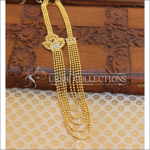 Designer Gold Plated CZ Peacock Necklace Set UC-NEW2011 - White - Necklace Set