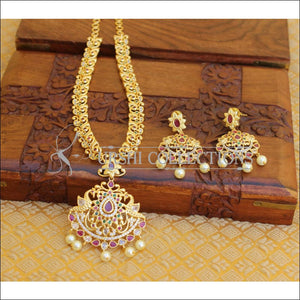 DESIGNER GOLD PLATED CZ PEACOCK NECKLACE SET UTV205 - Necklace Set