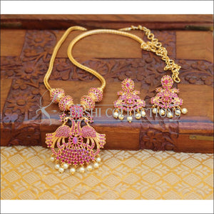 DESIGNER GOLD PLATED CZ PEACOCK NECKLACE SET WITH SCREW BACK EARRINGS UTV651 - RUBY - Necklace Set