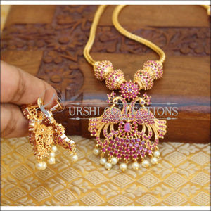 DESIGNER GOLD PLATED CZ PEACOCK NECKLACE SET WITH SCREW BACK EARRINGS UTV651 - Necklace Set