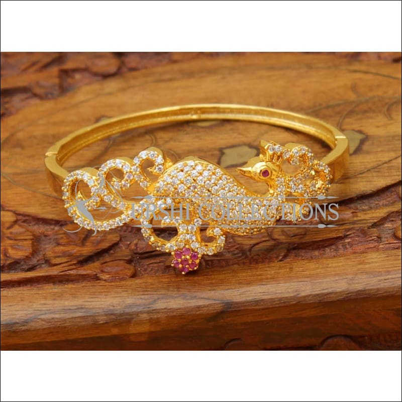 Designer Gold Plated CZ Peacock Openable Kada UC-NEW1812 - Ruby - Bracelets