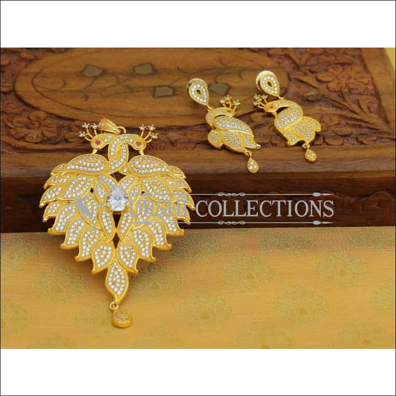 Designer Gold Plated CZ Peacock Pendant Set UC-NEW1751 - Pendant Set
