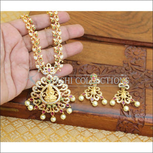 DESIGNER GOLD PLATED CZ TEMPLE LONG NECKLACE SET UTV207 - Necklace Set