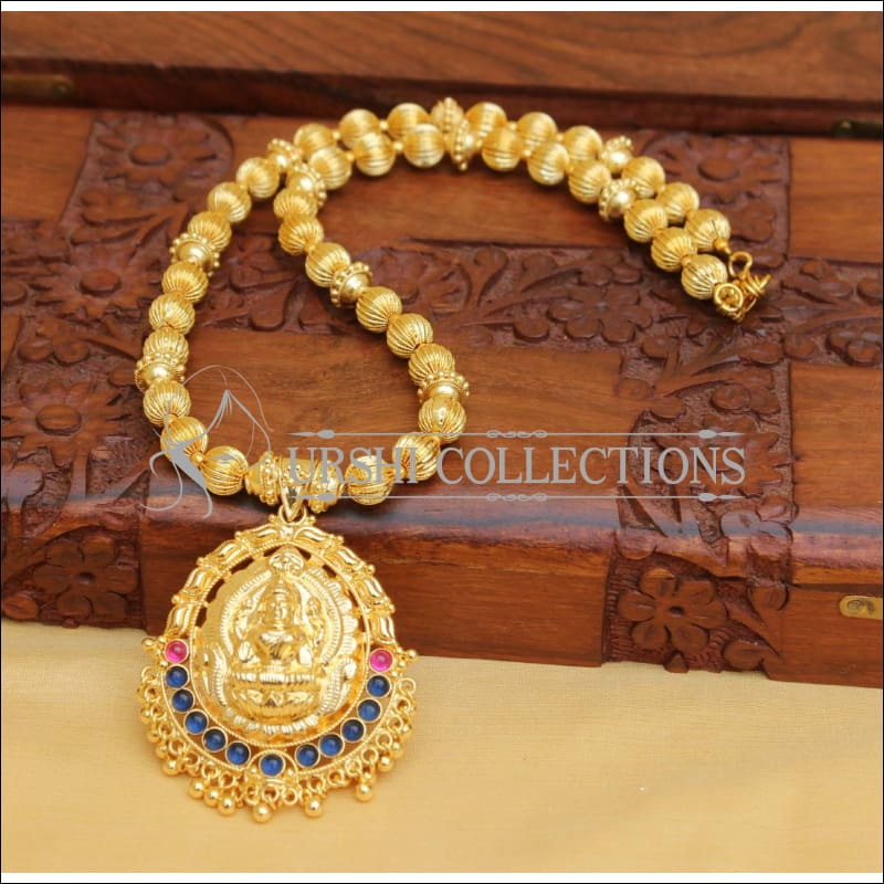DESIGNER GOLD PLATED HAND MADE TEMPLE NECKLACE UC-NEW2868 - BLUE PINK - Necklace Set