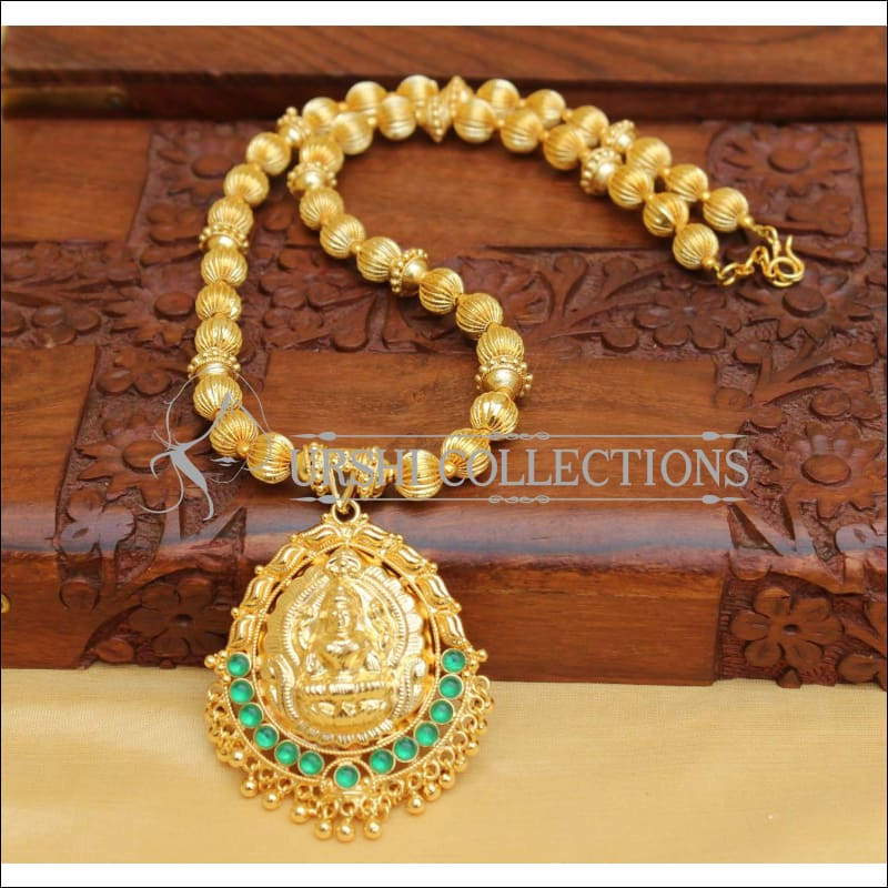 DESIGNER GOLD PLATED HAND MADE TEMPLE NECKLACE UC-NEW2868 - GREEN - Necklace Set