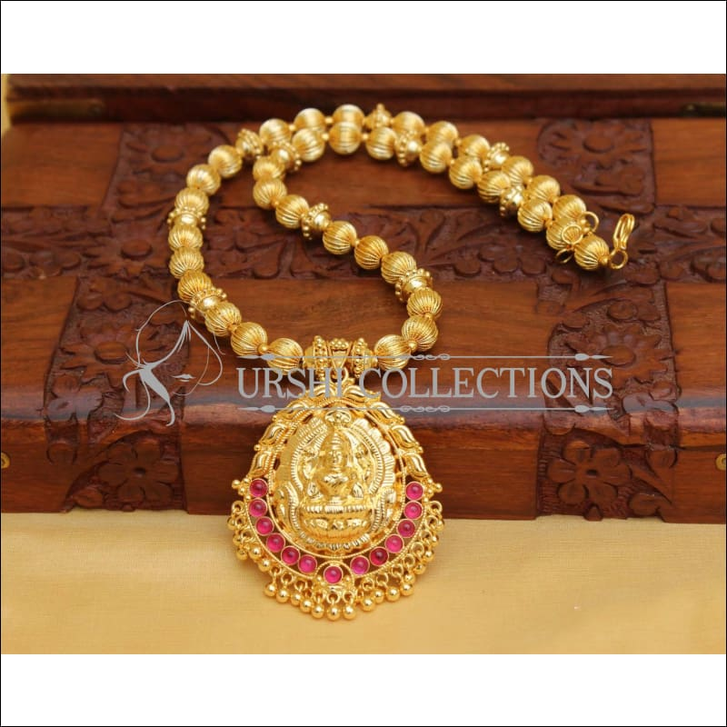 DESIGNER GOLD PLATED HAND MADE TEMPLE NECKLACE UC-NEW2868 - RED - Necklace Set