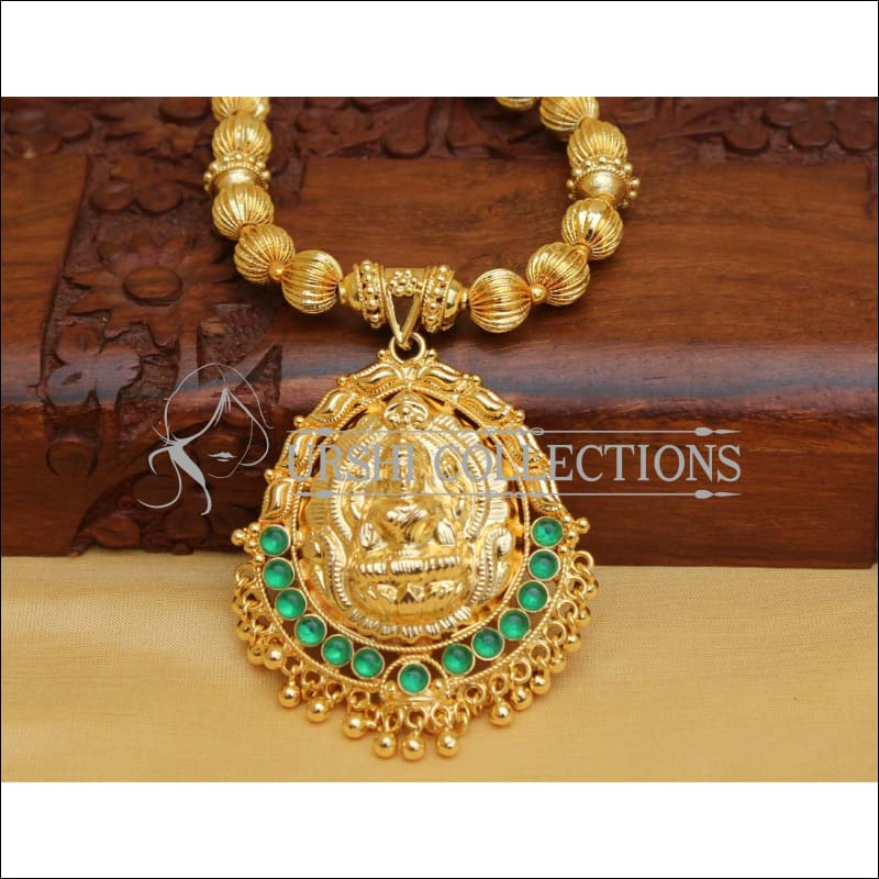 DESIGNER GOLD PLATED HAND MADE TEMPLE NECKLACE UC-NEW2868 - Necklace Set