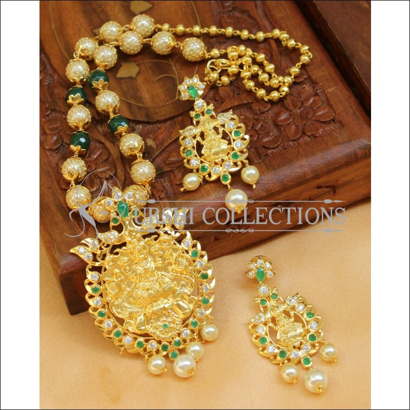 Designer Gold Plated Handmade Lakshmi Necklace Set UC-NEW1035 - Green - Necklace Set