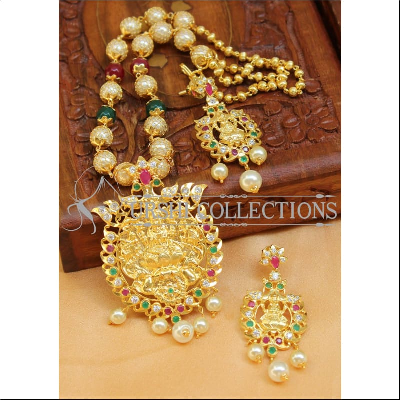 Designer Gold Plated Handmade Lakshmi Necklace Set UC-NEW1035 - Multi - Necklace Set