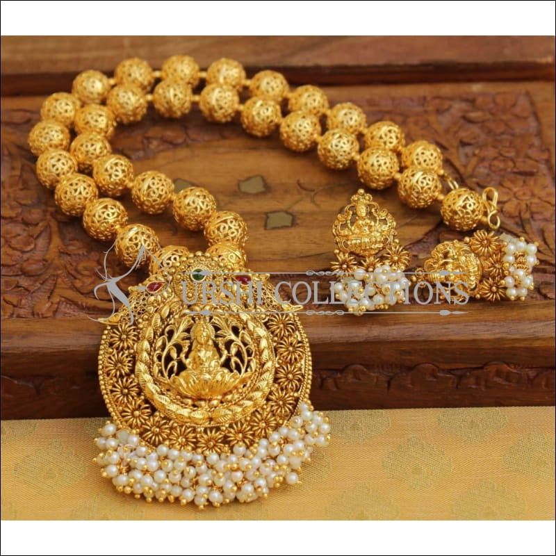 Designer Gold Plated Handmade Lakshmi Necklace Set UC-NEW2793 - Necklace Set